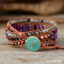 Natural Purple Jasper & Labradorite Wrap Bracelet - Free Spirit Shop