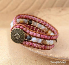 Natural Rhodonite & Amazonite Beaded Wrap Bracelet - Free Spirit Shop