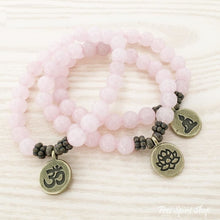 Natural Rose Quartz Stone Buddha Mala Bead Bracelet - Free Spirit Shop