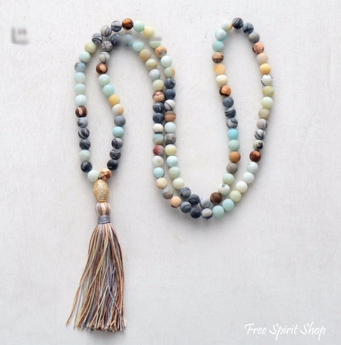 Natural Semi-Precious Agate & Amazonite Stone Mala - Free Spirit Shop
