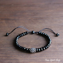 Natural Semi-Precious Black Agate Buddhist Mantra Bracelet - Free Spirit Shop