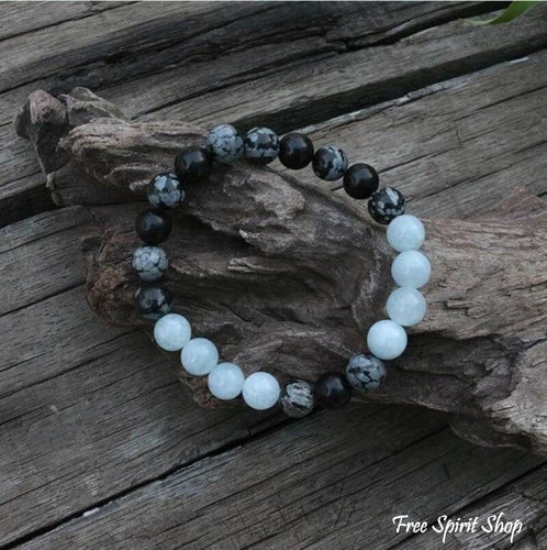 Natural Snowflake Obsidian & Aquamarine Bead Bracelet / Necklace - Free Spirit Shop