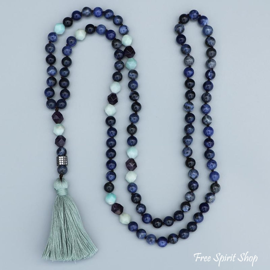 Natural Sodalite Amazonite & Amethyst Bead Mala Necklace - Free Spirit Shop
