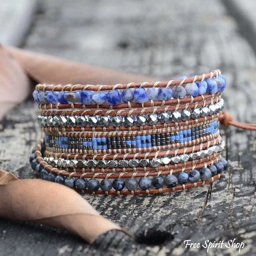 Natural Sodalite, Labradorite & Hematite Stone Leather Wrap Bracelet - Free Spirit Shop