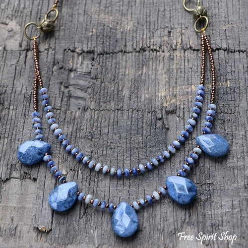 Natural Sodalite Tear Drop Beaded Necklace - Free Spirit Shop
