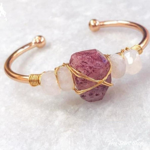 Natural Strawberry Quartz & Moonstone Cuff - Free Spirit Shop