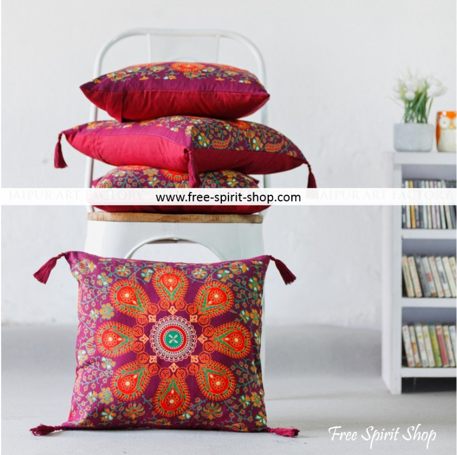 Set Of Two 100% Cotton Parwati Mandala Cushion Covers - Free Spirit Shop