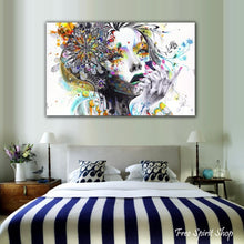 Wall Art Hippie Girl With Flowers Canvas Print - Free Spirit Shop
