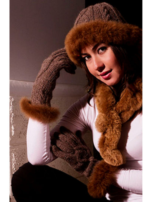 Diamond Cable Gloves with Fur