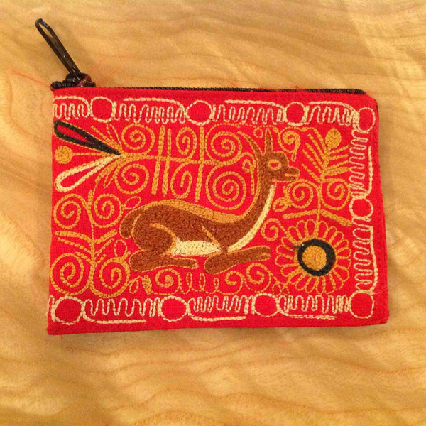 Embroidered Cotton Coin Purse