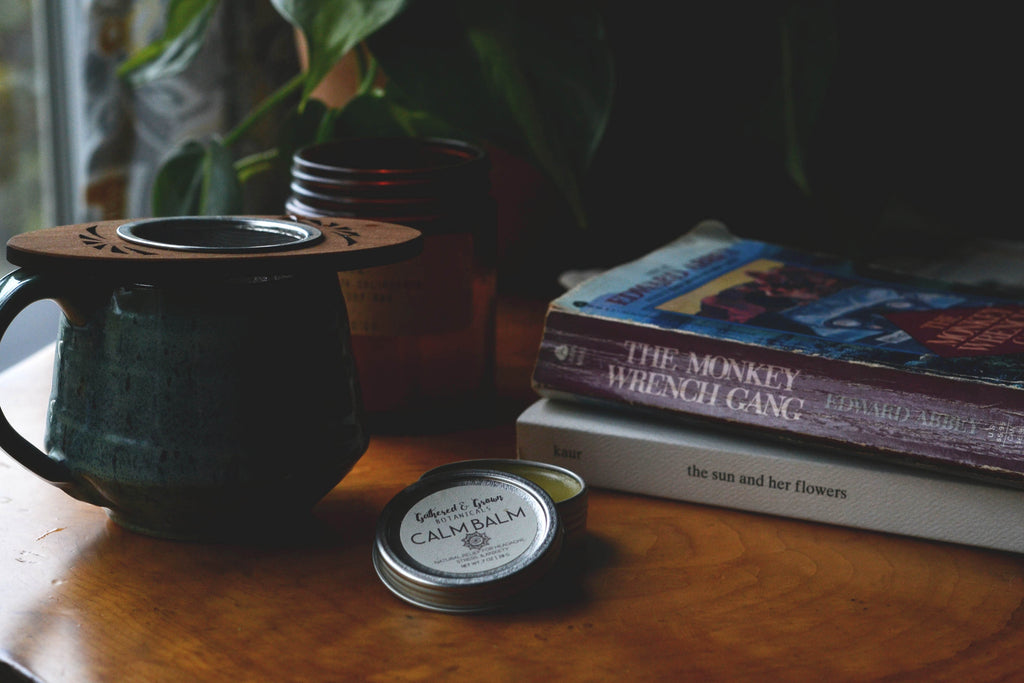 Calm balm with tea and a good book