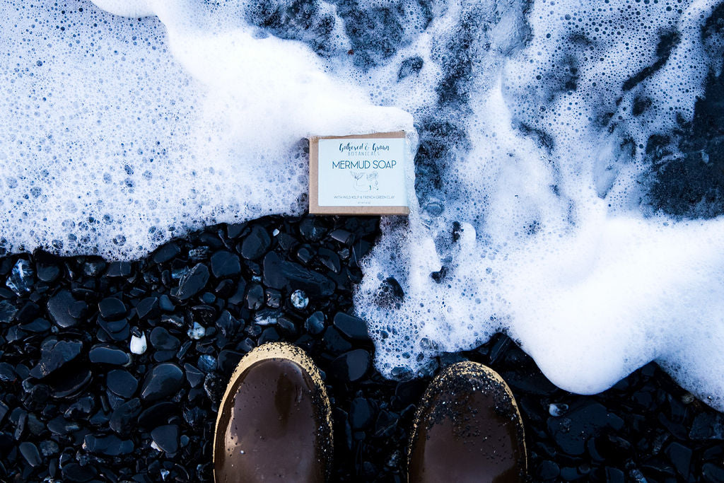 Mermud soap at home on the seashore: From Gathered and Grown Botanicals