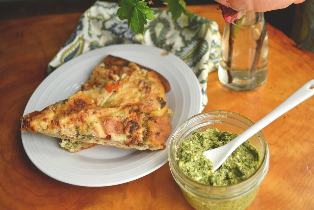 Wild spring greens pesto pizza