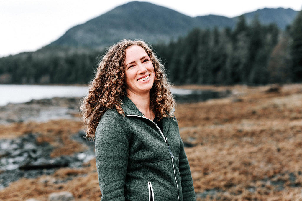 Waterbody founder Angie Flickinger, pictured by the seashore in Alaska