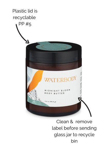 How to recycle body butter jars: Wash and remove label before recycling glass jar; plastic lid is PP #5