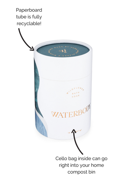 How to recycle Bath Soak Packaging: The paperboard tube is fully recyclable, cello bag inside is compostable!
