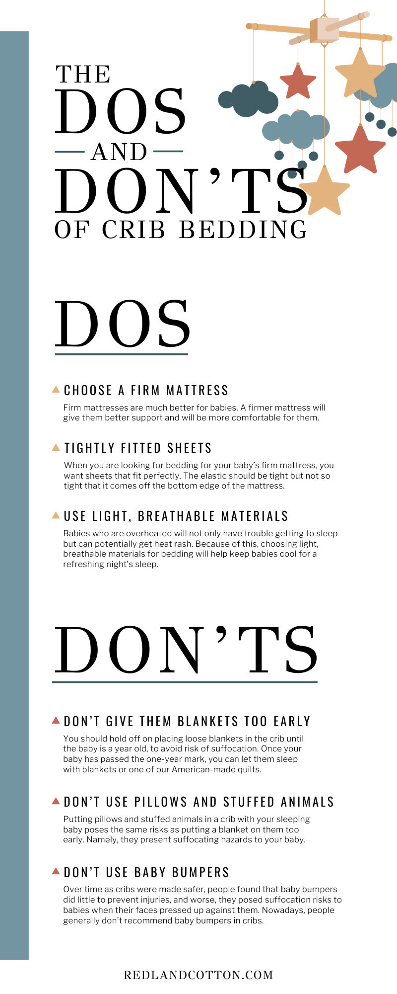 The Dos and Don'ts of Crib Bedding infographic