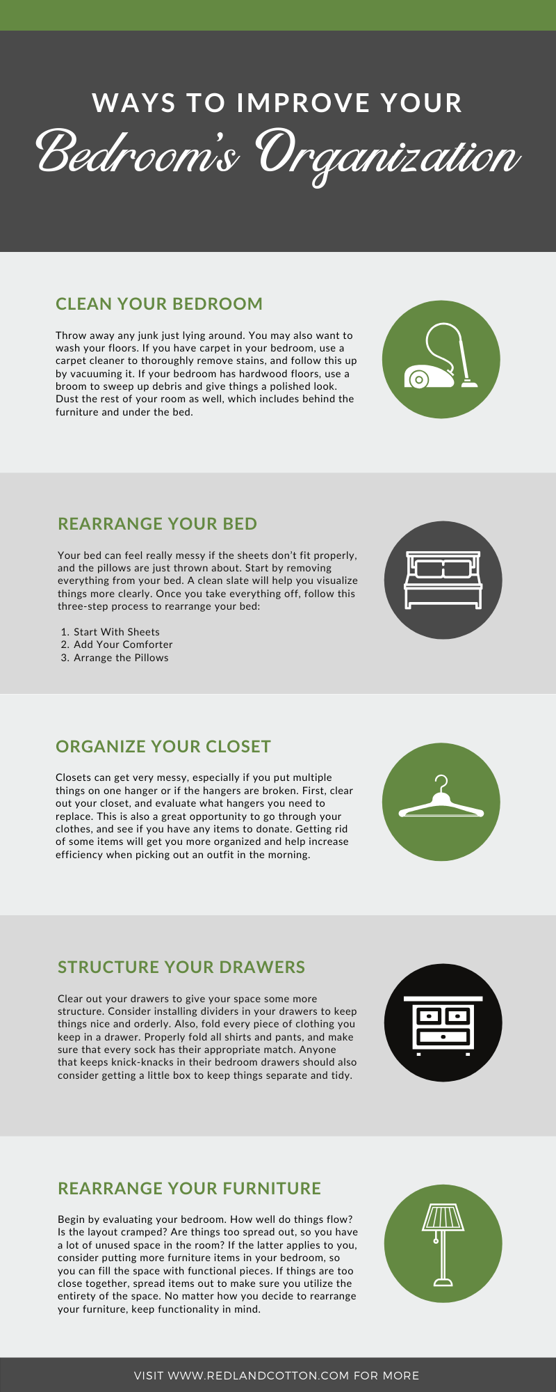 Ways to Improve Your Bedroom's Organization infographic