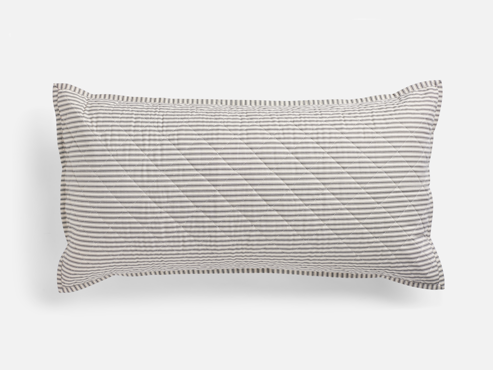 Ticking Stripe Quilted King Sham