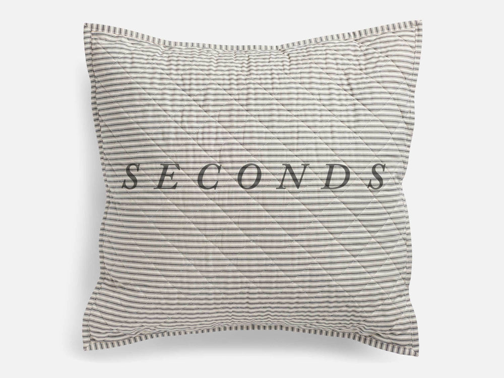 SECONDS — Ticking Stripe Quilted Euro Sham