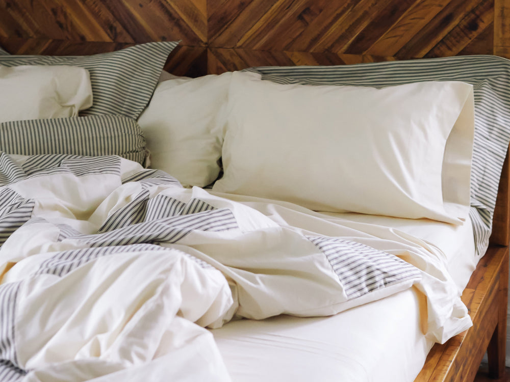 Natural & Ticking Stripe Print Patchwork Duvet Cover