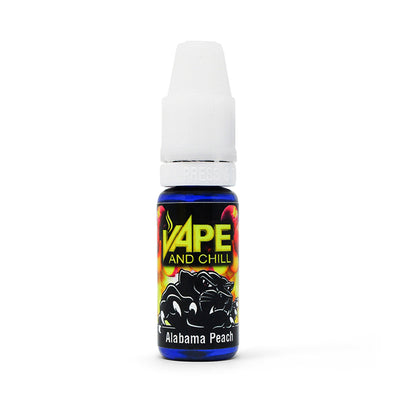 E Cigarette Liquid Alabama Peach Non-Nicotine Vaping Juice by Vape and Chill 70-30 VG-PG (10ml Plastic Bottle)