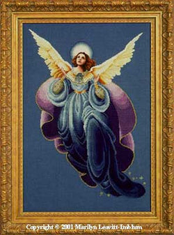 Lavender and Lace Angel of the morning victorian cross stitch pattern