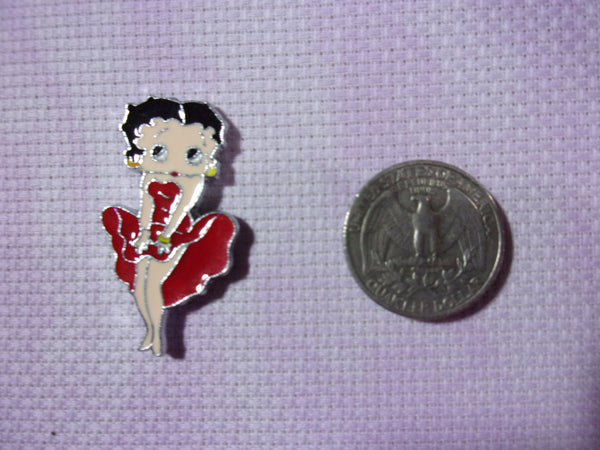 Betty Boop enameled metal needle minders cross stitch