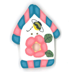 Pink/blue Birdhouse Buttons