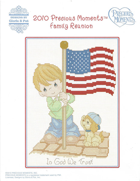 Gloria & Pat 2010 Precious Moments Family Reunion patriotic cross stitch pattern