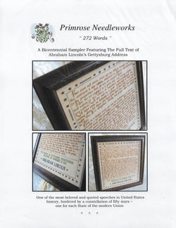 Primrose Needleworks 272 Words (Gettsburg Address) cross stitch pattern