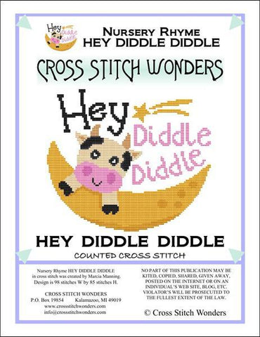 Cross Stitch Wonders Marcia Manning A Nursery Rhyme - HEY DIDDLE DIDDLE Cross stitch pattern