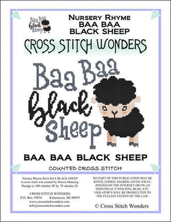 Cross Stitch Wonders Marcia Manning A Nursery Rhyme - BAA BAA BLACK SHEEP Cross stitch pattern
