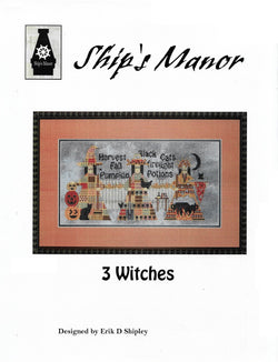 Ship's manor 3 Witches halloween cross stitch pattern