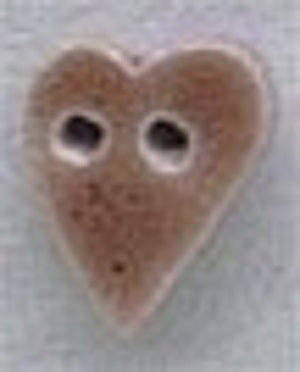 Mill Hill Small Speckled Brown Folk Heart 86253 ceramic button