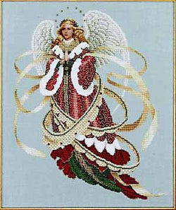 Lavender and Lace Angel of christmas victorian cross stitch pattern