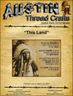 Austin Thread Crafts This Land native american cross stitch pattern