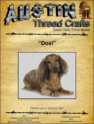 Austin Thread Crafts Doxi long-haired brown dachshund cross stitch pattern