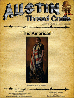 Austin Thread Crafts The American native american patriotic cross stitch pattern