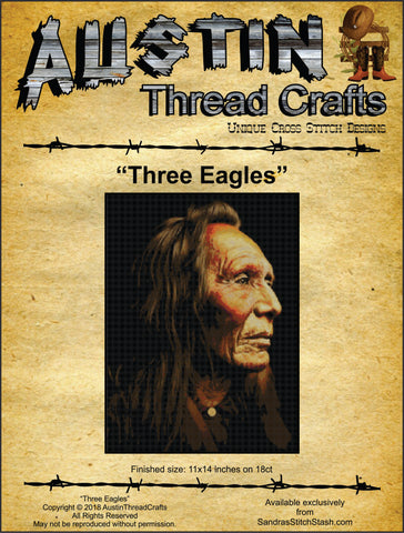 Austin Thread Crafts Three Eagles native american Nez Perce cross stitch pattern