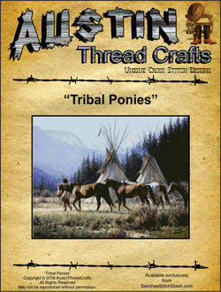 Austin Thread Crafts Tribal Ponies native american cross stitch pattern
