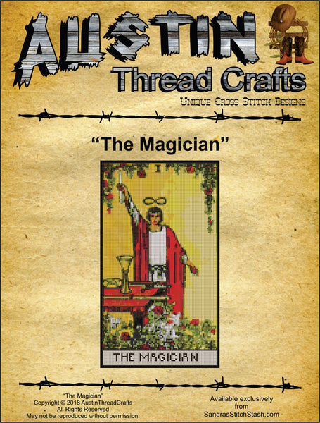 Austin Thread Crafts The Magician Tarot Card cross stitch pattern