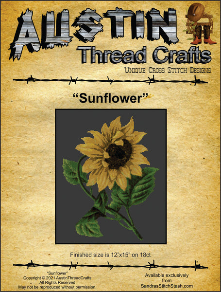 AustinThreadCrafts Sunflower flower cross stitch pattern