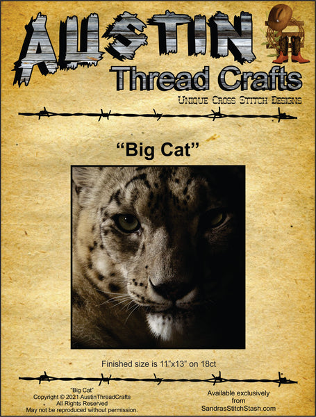 AustinThreadCrafts Big Cat animal cross stitch pattern