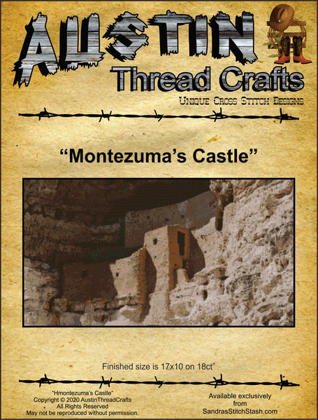 AustinThreadCrafts Montezuma's Castle native american cross stitch pattern