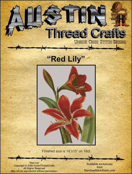 AustinThreadCrafts Red Lily flower cross stitch pattern