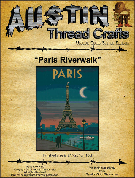AustinThreadCrafts Paris Riverwalk travel cross stitch pattern