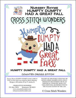 Cross Stitch Wonders Marcia Manning A Nursery Rhyme - HUMPTY DUMPTY Cross stitch pattern