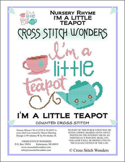 Cross Stitch Wonders Marcia Manning A Nursery Rhyme - I'M A LITTLE TEAPOT Cross stitch pattern