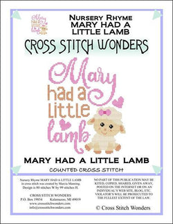 Cross Stitch Wonders Marcia Manning A Nursery Rhyme - MARY HAD A LITTLE LAMB Cross stitch pattern